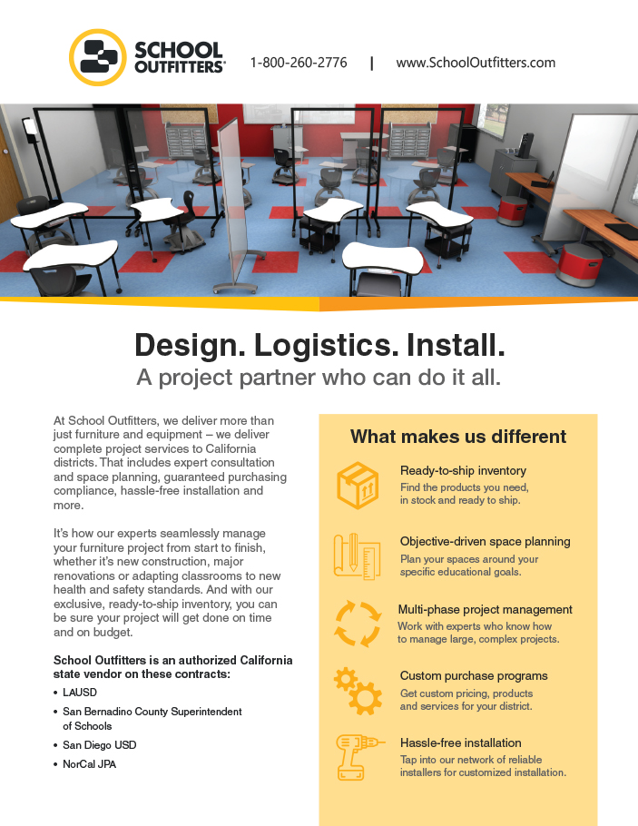 School Outfitters ad for logistics software.