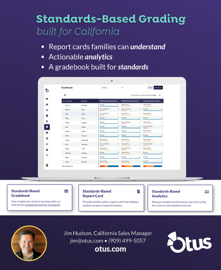 Otus ad for standards based grading software.